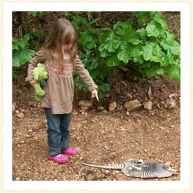 Zoey Louise points out a 'Good Armadillo.'